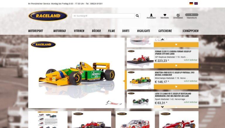 Raceland zeigt neues Design auf ihrem Onlineshop 2020