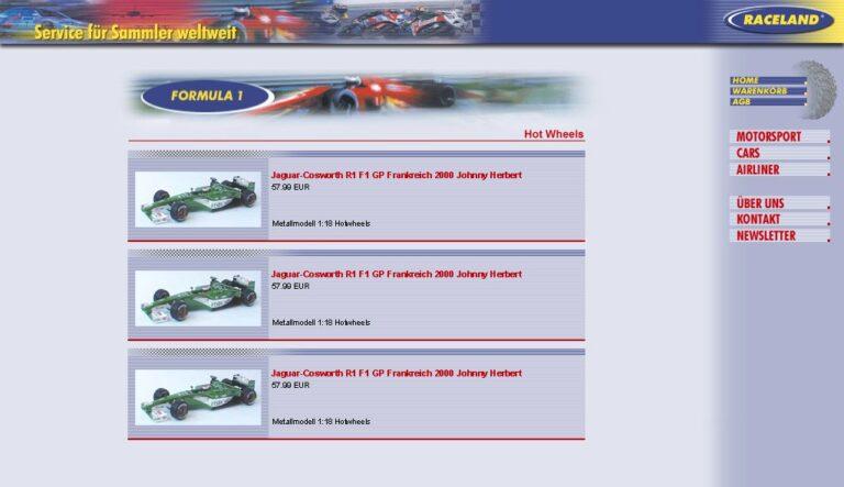 Raceland erkannte bereits 1996 das Potential des Onlinehandels und hatte 2001 seinen ersten Onlineshop